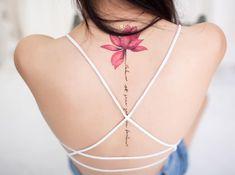 Tattoos the back the new fashion look street style Spine Tattoos For Women, Tattoos For Women Flowers, Flower Wrist Tattoos, Ribbon Tattoos, Back Tattoo Women, Back Tattoos, Tattoos For Women Small, Rose Tattoos, Body Art Tattoos