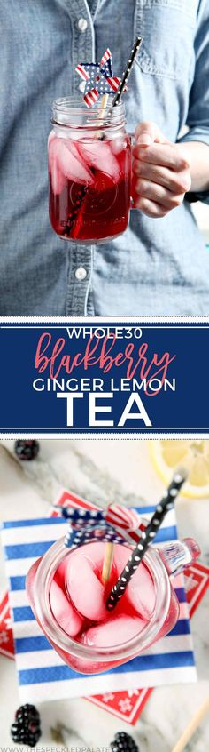 Cool down with Blackberry Ginger Lemon Whole30 Tea! This Whole30-compliant iced tea makes the perfect sipper for the warm months ahead. #drink #whole30