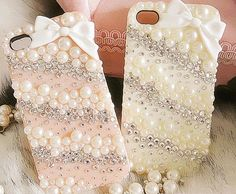 Crystal Pearl 3D Bow Rhinestone DIY Handmade iphone 4 / 4s 5 / 5s Case on Etsy, $28.99