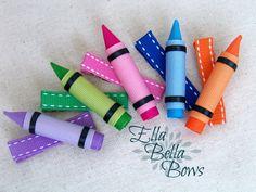Items similar to Crayon Ribbon Sculpture Hair Clip, Back To School Hair Bow, Choose your color, one on Etsy Ribbon Hair Clips, Ribbon Art, Ribbon Hair Bows, Diy Hair Bows, Diy Bow, Diy Ribbon, Ribbon Crafts, Bracelets Rainbow Loom, Loom Bracelets
