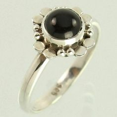 Handmade Art Ring Size US 5.75 Natural BLACK ONYX Gemstone 925 Sterling Silver #Unbranded