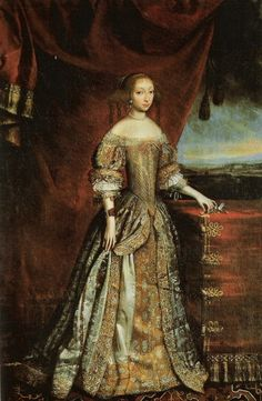Queen Charlotte Amalie of Denmark is dressed like a Queen in gold brocade and/or cloth of gold in this 1667 Salomon Duarte portrait. She has pulled her over-skirt aside draping it in the style that would dominate a decade later, the mantua