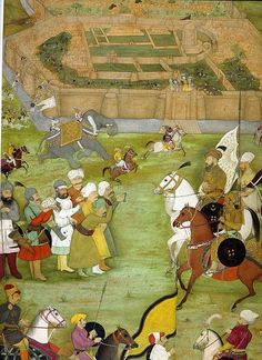 A Mughal miniature from the Padshahnama depicting the surrender of the Safavid Persian garrison of Kandahar in 1638 to the Mughal army of Shah Jahan commanded by Kilij Khan