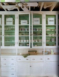 glass cabinets!  color behind pretty cool
