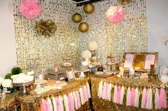 Pink and Gold Baby Shower - oh so sparkly!