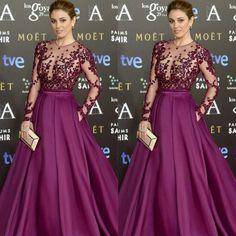 Goya Cinema Awards 2015 Red Carpet manga larga celebridad viste 2015 vestidos largos de noche formales de encaje y satén