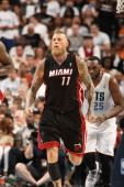 Chris Andersen #11 of the Miami Heat celebrates during a game against the Charlotte Bobcats during Game Three of the Eastern Conference Quarterfinals of the 2014 NBA playoffs at the Time Warner Cable Arena on April 26, 2014 in Charlotte, North Carolina