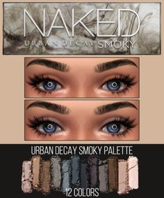 "URBAN DECAY SMOKY PALETTE ""12 various colors, clear and darkened"" EyesShadow category. 12 colors. HQ mod not compatible."