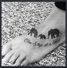 Quote and family of elephant tattoo