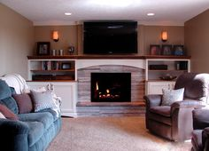 Tv Over Fireplace Design Ideas, Pictures, Remodel, and Decor - page 59 Like the straight line.