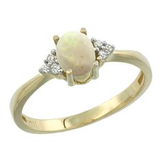 Sabrina Silver 10K Yellow Gold Natural Opal Ring Oval 7x5mm Diamond Accent, sizes 5-10