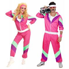 Couples 1980s Shell Suits Fancy Dress Costumes 1980 S Neon Party