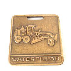 Caterpillar Construction Tractor Bulldozer Brass Fob Luggage Tag #CATCaterpillar