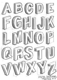 Alphabet In Block Letters Gallery . Graffiti Lettering Fonts, Hand Lettering Alphabet, Doodle Lettering, Graffiti Alphabet, Creative Lettering, Lettering Styles, Block Lettering, Lettering Design, Alphabet Stencils