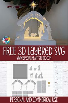 Learn how to cut and assemble my free 3D Layered Nativity scene with your Cricut or Silhouette machine. Easily store the Nativity for future years and the base doubles as a box to keep once the season is over. The 3D Nativity would make a great gift to send to family far away this Christmas. Made from cardstock, the Nativity is lightweight but sturdy. #freecutfile #christmascraft #3dlayered #nativity #cricut