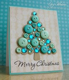 Christmas card - love the colour and the buttons