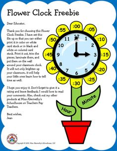 This Flower Clock Freebie is a fun way to brighten-up your classroom while…