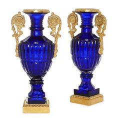 Pair of Russian Neoclassical style ormolu and blue glass vases | Russian | 20th Century. More details online at mayfairgallery.com Blue Glass Vase, Neoclassical, Cut Glass, Cobalt Blue, Porcelain, Antique Vases, Bronze, Pairs, Antiques