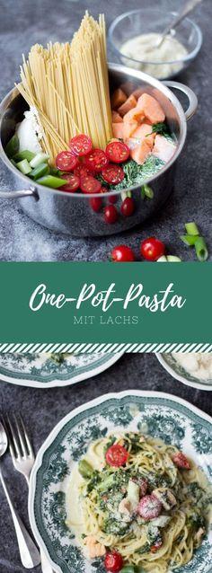 Ein einfaches, deutsches Rezept für leckere One-Pot-Pasta mit Lachs und Spinat!