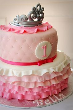 Perfect! Except domed top, all ivory & maybe pearlescent super light pink pearls. Surprise on the cake & filling inside.