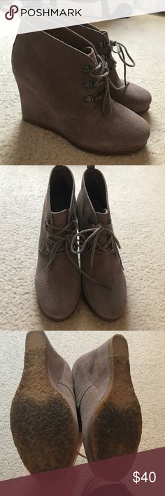 Steve Madden Booties Light gray suede booties. Worn once but a little too high for me! Almost as good as new. Super cute. Steve Madden Shoes Ankle Boots & Booties