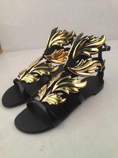 Giuseppe Zanotti金色叶子羽翼平跟女鞋黑金火焰山高跟真皮扣凉鞋-淘宝网