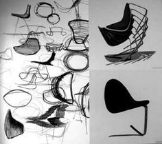 Poul Kjærholm work drawing and chair.