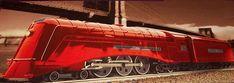 Comodoro Vanderbilt de las líneas centrales de Nueva York. La locomotora de vapor aerodinámico más rápida (alimentada con carbón) en 1937, pero batida en pruebas de velocidad por los trenes eléctricos antes de que la pintura estuviera seca.