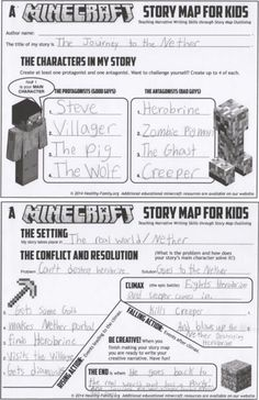 Minecraft Story Map for Kids: Teach Creative Writing with Minecraft: