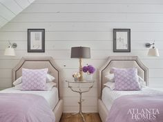 Beyond a sliding barn door is the guest suite, which beguiles with touches of lavender and architectural drawings from John's university days. Closet Bedroom, Girls Bedroom, Bunk Rooms, Kid Rooms, Purple Rooms, Awesome Bedrooms, Nice Bedrooms, New Room, Child's Room
