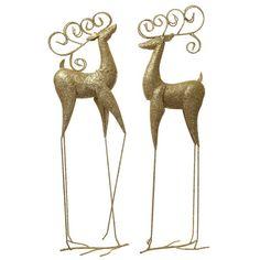 Metal Standing Gold Reindeer