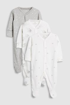 Buy GOTS Certified Organic Cotton Watercolour Elephants Sleepsuits Three  Pack (5-12mths) from the Next UK online shop e2ca8763021b