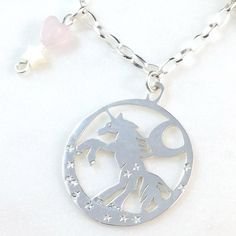 Silver Unicorn with crescent moon necklace rose-quartz heart Moon Necklace, Pendant Necklace, Rose Quartz Heart, Matching Shirts, Unicorn, Pearls, Sterling Silver, Chain, Handmade
