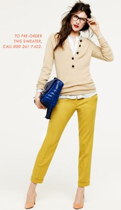 Colored chinos and heels. Love that color, yellow!