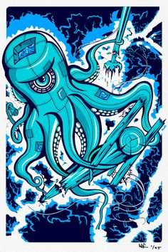 """Octopus Squid Poster screen printed silk screen hand made  this is 100% original 1 of 25 screen prints hand-printed . each piece hand signed and numbered and these will never be reproduced past 25 prints! ARTWORK SIZE IS 12""""X18"""" PRINTED ON HEAVY COLD PRESSED ARTBOARD (VERY THICK) 3 color print available on etsy for $24.99"""