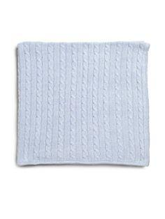 Rachel Riley - Infant's blue cable-knit cashmere blanket