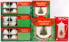 """Lot 318: Christopher Radko """"Holiday Celebration"""" Christmas China Service; Including twelve cups and saucers, four dinner plates and four salad plates with their original boxes; together with a Nikko thermal carafe"""