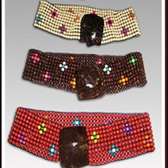Wooden-stretch belt Handmade with colorful wood pieces and coconut shell.  One color belt with and without flowers. Accessories Belts