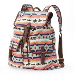 Mudd Oversized Colorful Aztec Backpack (Orange) ($35) ❤ liked on Polyvore