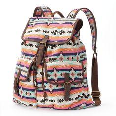 Mudd Oversized Colorful Aztec Backpack (Orange) featuring polyvore, fashion, bags, backpacks, orange, aztec print bag, brown backpack, brown bag, foldable backpack and aztec backpack