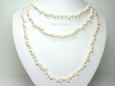 63 Inch Ardent White Baroque Pearl Rope Necklace 6-7mm: www.pearlisland.co.uk