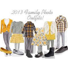 """Yellow & Gray Family Photo Outfits"""