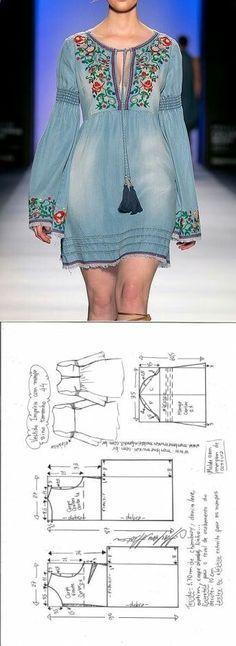 Embroidered jeans dress...<3 Deniz <3