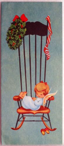 #140 50s Darling Angel Sleeps in the Rocking Chair-Vtg Christmas Greeting Card