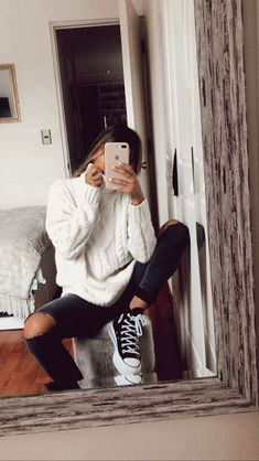 Winter Fashion Outfits, Fall Winter Outfits, Look Fashion, Autumn Fashion, Mode Converse, Mode Hipster, Stil Inspiration, Mode Ootd, Cooler Look