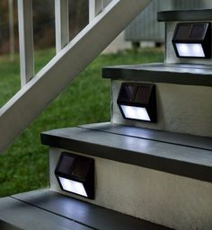 "Solar Powered Step Lights Outdoor 4 Pack Screwable Set Bronze Frame  Let the sun light the way at night on stairs and walkways. Amorphous solar panels gather and store sunlight, even on overcast days, then automatically turn on at dusk, providing six to eight hours of light. Aluminum housing with bronze finish. Solar lights for stairs; Provides up to 6-8 hours of light per night; Durable aluminum housing with bronze finish. Size: 6""W x 1-1/2""D x 4-1/2""H"