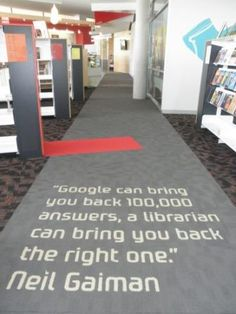 """""""Google can bring you back 100,000 answers; a librarian can bring you back the right one."""" - Neil Gaiman #writing #reading"""