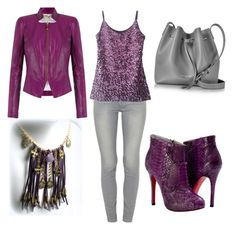 """Shades of Purple"" by eponascrystals on Polyvore featuring Tufi Duek, Paolo Shoes, Paige Denim and Lancaster"