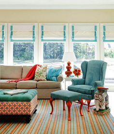 Banded Roman Shades - cute, love the colors!