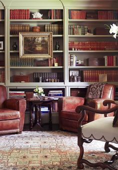 traditional but not overdone English style library, great armchairs for reading,